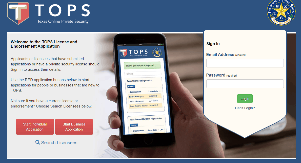 Texas Online Private Security Application